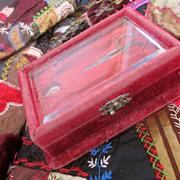 Victorian Velvet Vanity Box Bezeled Glass