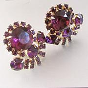 50's Large Purple Paste Estate Clip Earrings