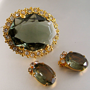 Large Topaz Color Crystal Brooch Demi Parure