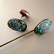 Edwardian Enameled Flowered Stick Pin Matching Cufflink