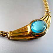 REDUCED Monet Egyptian Revival 60's Necklace Blue Cabochon