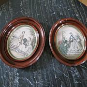 REDUCED Set Victorian Walnut Frames French Prints