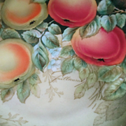 Hand Painted Bavarian Covered Dish And Plate Peaches Signed