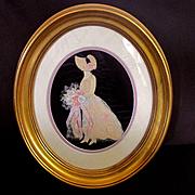 Deco Period Ribbon Picture Woman With Bride's Corsage