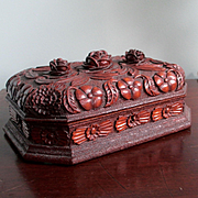 REDUCED Extraordinary Black Forest Carved Document Or Valuables Box Cabbage Roses