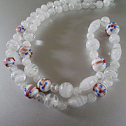 Vintage Art Glass Wedding Cake Bead White Italian Beads