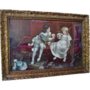 SOLD Antique Victorian M.L. Waller Lithograph 18C Boy & Girl On Couch Original frame - Red Tag