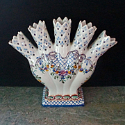 5 Finger French Faience  Provincial Vase Flowers Bows