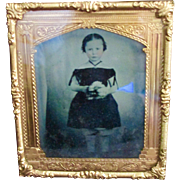 SOLD Civil War Era Framed Mourning Tin Type Beautiful Little Girl Holding Flowers - Red Tag Sa