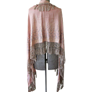 SOLD Victorian Silk Crepe Embroidered Long Shawl