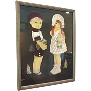REDUCED 1920's Paper Dolls in Frame With Ribbon Art Mohair Wigs