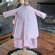 REDUCED Darling Early Pink Gingham Tattersall  2 Piece Smaller Doll