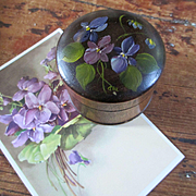 SOLD Old Walnut Round Stamp Box Hand Painted Violets With Belgian Card
