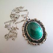 60's-70's Artistan 800 Silver Large Malachite Pendant
