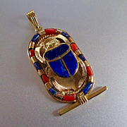 SOLD SAVE FOR MARGARET Large Vintage 18K Scarab Beetle Coral Lapis Pendant