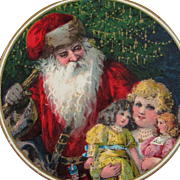 SOLD Darling German Card Santa With Little Girl and Her Dollies