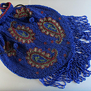 REDUCED Victorian Paisley Beaded Bag