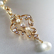 SOLD Victorian Pearl Diamond Lariat Heart Shaped Pendant 15K  14K Pearl Chain