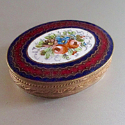Porcelain French Cloisonne Hinged Powder Puff Box Lambswool Puff Doll Sized