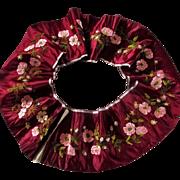 "SOLD Spectacular 72"" Victorian Trim Crimson Silk Wild Roses Chenille - Red Tag Sale Item"
