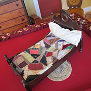 REDUCED Vintage Mahogany Victorian Style Doll Bed Feather Stitch Quilt