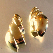REDUCED 14K Mid Century Large Earrings