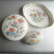 REDUCED Wedgwood Dresser Set 3 Pieces Kutani Crane