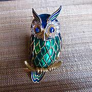 SOLD Lovely Large Enameled Jomaz Owl Brooch