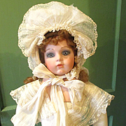 Wonderful Ruffled Dotted Swiss Embroidered Bonnet Larger Doll