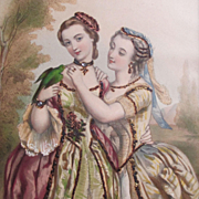 SOLD 1800's French Chromolithograph 2 Women Embellished
