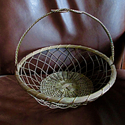SALE PENDING GREAT Vintage French Wire Hanging Basket Large