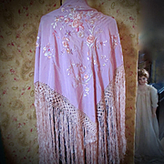 REDUCED Lilac Silk Embroidered Deco Shawl