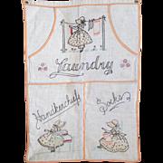 Vintage 1930's Embroidered Sunbonnet Sue Linen Laundry Bag
