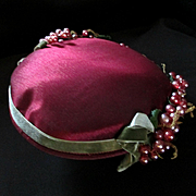 Pink Berries 1950's Silk Fascinator Hat R.H. Stearns Co.