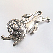 Lion Passant Guardant  Brooch Silver Plated Signed