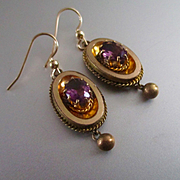 SALE PENDING Victorian/Edwardian Amethyst GF Drop Earrings