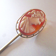 Edwardian Carved Cameo Petite Stick Pin Lapel Or Doll Hat Signed Marathon 10K