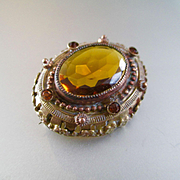 Lovely Large Edwardian Citrine Sash Pin