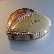 La Mode 50's 2 Tone Heart Compact Monogrammed Nita