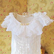 SOLD 1930's Ruffled Deco Girl's White Dress Rosettes Cinderella Frock