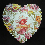 Valentine Die Cut Card Art Nouveau Pretty Girl Pansies