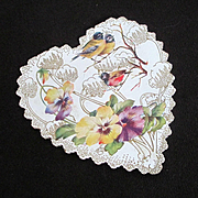 Art Nouveau Die Cut Valentine Pansies Birds