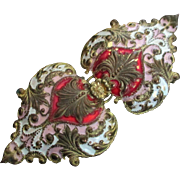Large Double Heart Gilt Victorian/Edwardian Belt Buckle