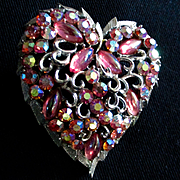 REDUCED 50's Coro Large Lava Rock Heart Brooch