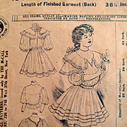 Circa 1900 McCall's Girl's Fancy Dress Pattern Cover For Framing