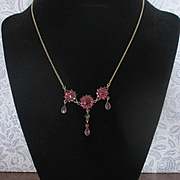 REDUCED Antique Bohemian Czech Garnet Necklace Drop