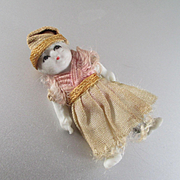 Tiniest Asian Bisque Jointed Dollhouse Doll Original Dress 1 and 3/8""