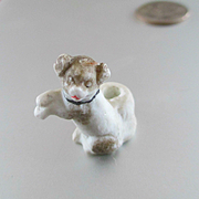 "Tiny Miniature Bisque 1"" Dog Match Safe Dollhouse"