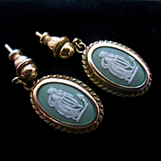 Vintage Wedgwood Jasper Ware Gold Filled Hope and Anchor Pierced Dangle Earrings