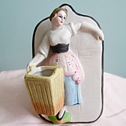 Wonderful Bisque Match Safe Peasant Girl Basket